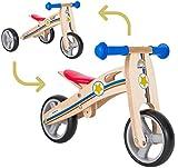 BIKESTAR Mini Kinder Laufrad Holz Lauflernrad mit DREI Rädern für Jungen und Mädchen ab 1 - 1,5 Jahre | 2 in 1 Kinderlaufrad | Kleiner Sheriff | Risikofrei Testen