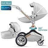 Hot Mom Kombikinderwagen 3 in 1 mit Buggy und Babywanne 2018 neues Design, Baby Autoschale separate erhältlich - komplett Grey