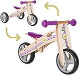 BIKESTAR Mini Kinder Laufrad Holz Lauflernrad mit DREI Rädern für Jungen und Mädchen ab 1 – 1,5 Jahre  2 in 1 Kinderlaufrad  Kleine Prinzessin