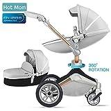 Hot Mom Kombikinderwagen mit Buggy und Babywanne 2018 neues Design (grey)