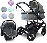 VCM Kombi - Kinderwagen, Babywagen 2in1 oder 3in1'VCK Kidax' 3in1 - mit Babyschale: Mintgrün