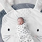 Baumwolle Krabbeldecke groß und weich gepolstert 95 x 90cm für Baby Kinder (Kaninchen)