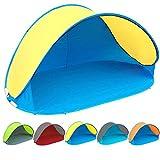 Pop Up Strandmuschel mit Boden UV-Schutz 40 oder 60 - 220 x 120 x 100 - cm in verschiedenen Farben (Blau / Gelb UV60)