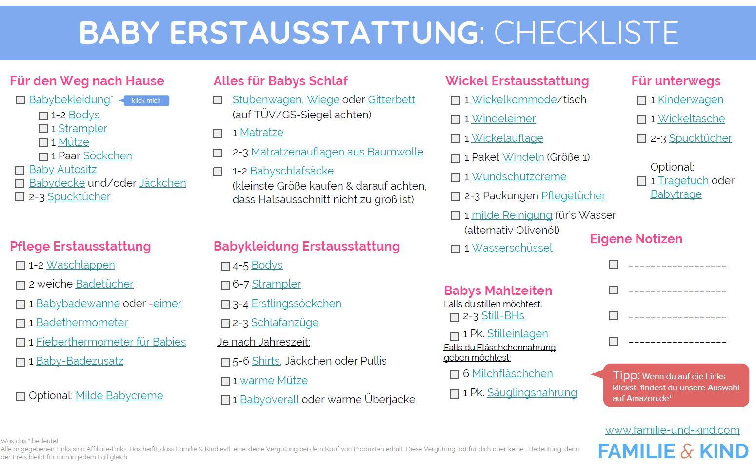 Baby Erstausstattung Liste: das braucht dein Baby wirklich!